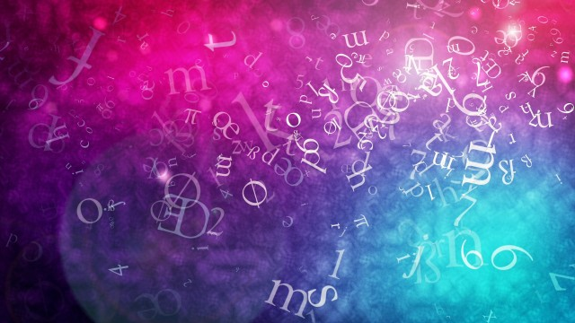 Flying numbers and letters on colorful background