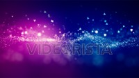 Cinematic purple glowing moving particles with floating lights. Magical dust with on clean background. Abstract motion of particles in 4K. Seamless loop.