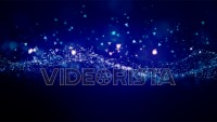 Cinematic blue glowing moving particles with floating lights. Magical dust with on clean background. Abstract motion of particles in 4K. Seamless loop.