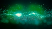 Cinematic green glowing moving particles with floating lights. Magical dust with on clean background. Abstract motion of particles in 4K. Seamless loop.