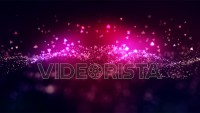 Cinematic pink glowing moving particles with floating lights. Magical dust with on clean background. Abstract motion of particles in 4K. Seamless loop.