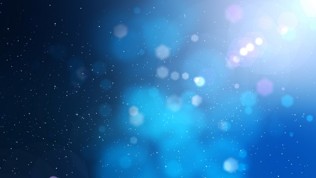 Blue abstract motion background with particles, lights and snow.