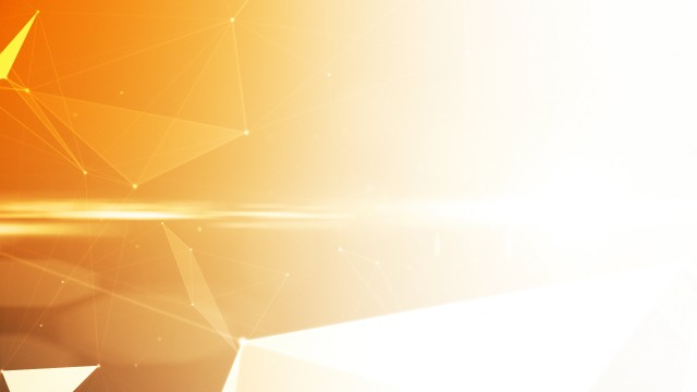 Futuristic yellow polygonal geometric background with vectors, lines and flares.