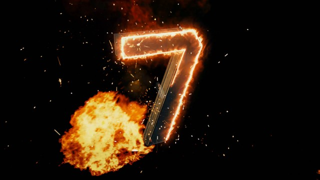 Fiery 3D Numbers Countdown with explosive particles.