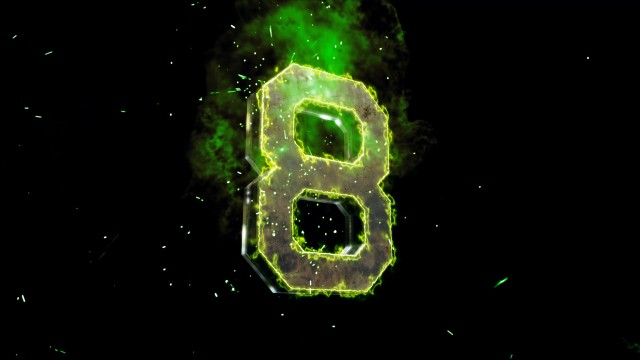 Green energy 3D Numbers Countdown with electromagnetic rays.