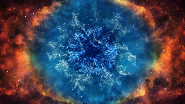 Star explosion into the creation of a beautiful nebula. Supernova. Big bang animation of the universe.