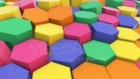 3D animation of abstract floating hexagons in bright colors. 4k 3D animation.