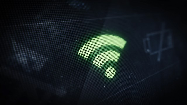 Pixel Wi-Fi Icon on Digital LED Screen