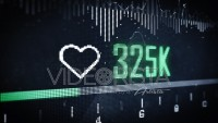 Heart symbol with Like Counter on Digital LED Screen