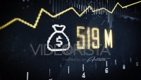 Stock market animation with money icon and profits