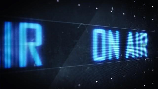 Pixel On Air Blue Broadcast Sign scrolling on Digital LED Screen. Seamless Loop.