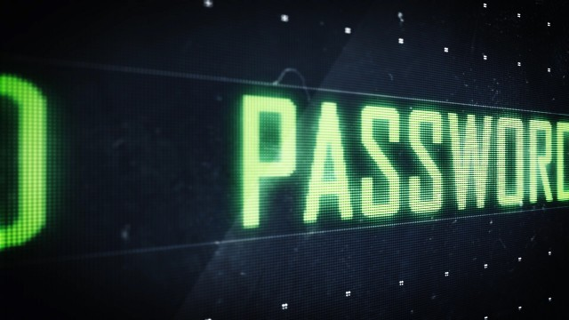 Pixel Password Green Sign scrolling on Digital LED Screen. Seamless Loop.
