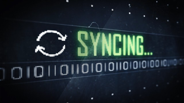 Pixel Syncing Message and Symbol on Digital LED Screen. Seamless Loop.