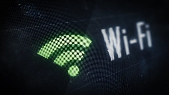 Pixel Wi-fi Icon with Text on Digital LED Screen