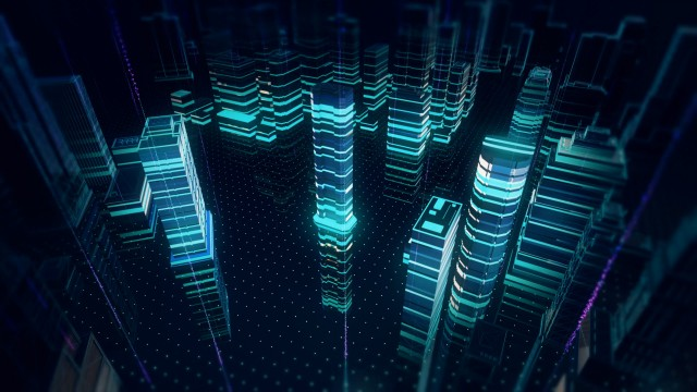 Information streaks floating on top of holographic city