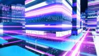 Digital city buildings with binary streak lights.