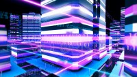 Futuristic cybernetic city with binary streak lights of communication