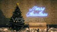 Christmas Set with tree, ornaments, bench and neon sign.