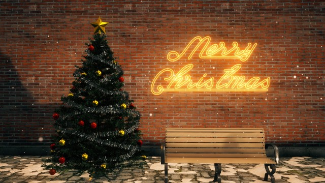 Christmas Set with tree, ornaments, bench and yellow neon sign.