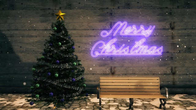 Christmas Set with tree, ornaments, bench and purple neon sign.