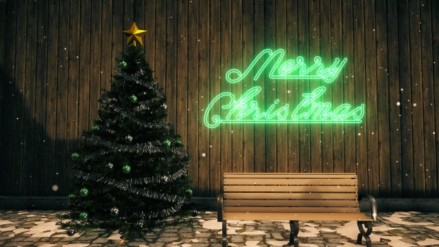 Christmas Set with tree, ornaments, bench and green neon sign.
