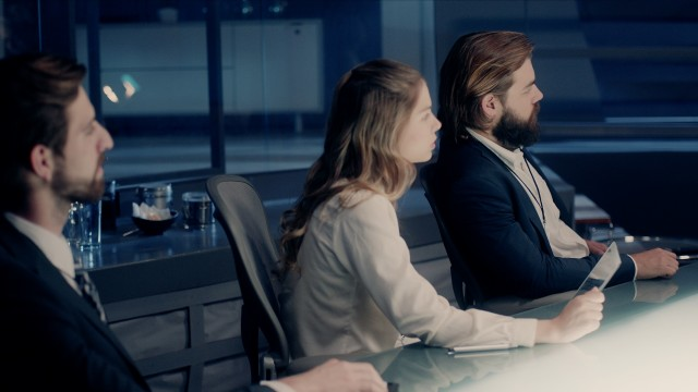 Professional Board of Executives and Clients Sitting at Corporate Meeting Room. Shot on ARRI ALEXA Mini UHD Cinema Camera.