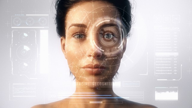 Futuristic and technological scanning of the face and retina of a beautiful woman avatar for facial recognition. Personal safety. Concept of: future, security, artificial intelligence, virtual reality