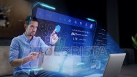 Hispanic Ethnicity young man Shopping Online at home on a Futuristic Holographic Interface.