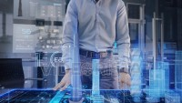 Professional Architect works with Holographic Augmented Reality 3D City Model using gestures.