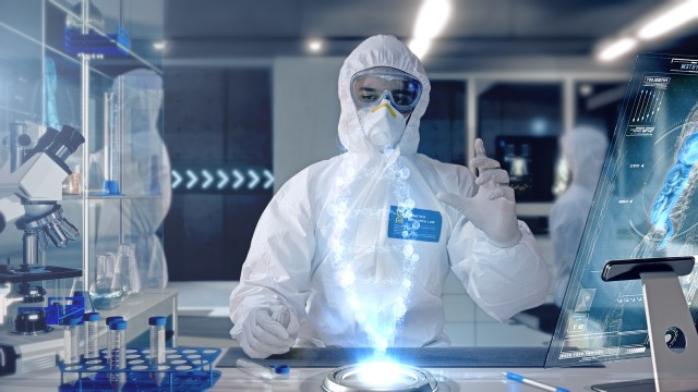 Male Scientist analyzing and interacting with a 3D Rotating DNA Molecule Hologram in a Modern Laboratory.