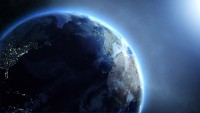 Blue Realistic Earth Spins in Outer Space