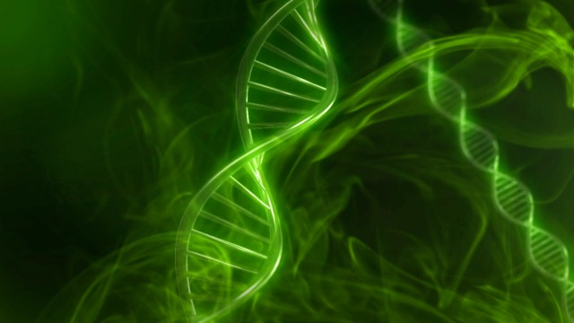 Green DNA Strand in Slow Motion