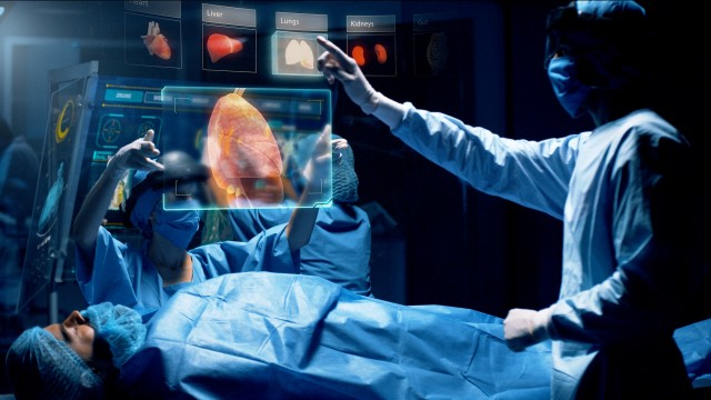 Doctor analyzing Heart 3D Scan on a futuristic augmented reality lens.