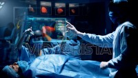 Doctor analyzing Liver 3D Scan on a futuristic augmented reality lens.
