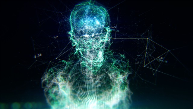 AI Artificial intelligence digital brain and full body sensors showing data. Deep learning computer machine. 3D Human Avatar with Neural Network Connections.