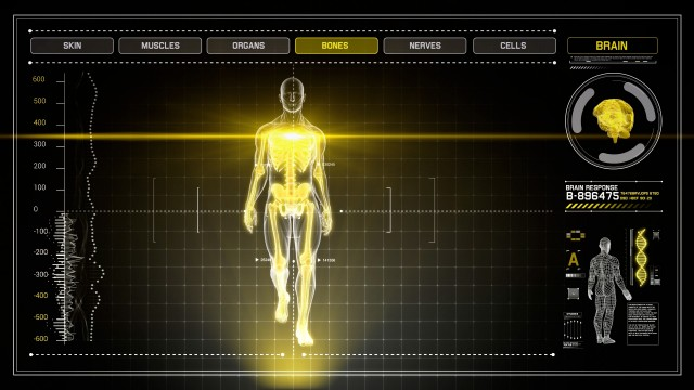 3D Human Walking on Yellow Digital Interface