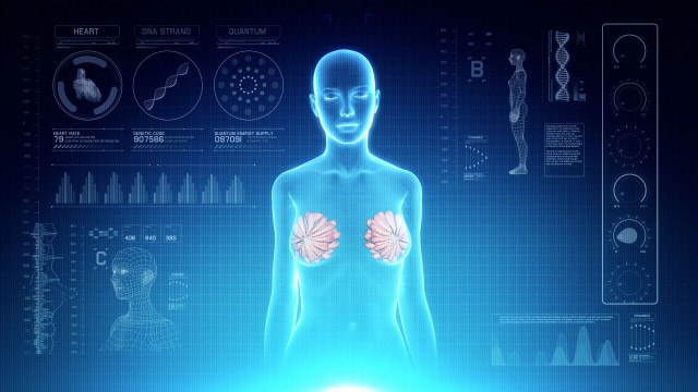 Female Mammary Gland Anatomy on Virtual Futuristic Blue Touch Interface