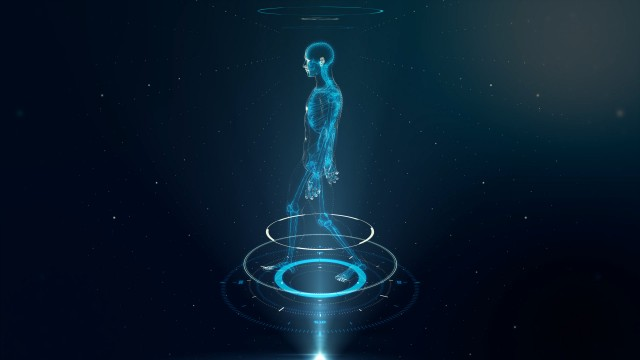 Blue Walking Avatar Projection with Xray Skeleton Scan
