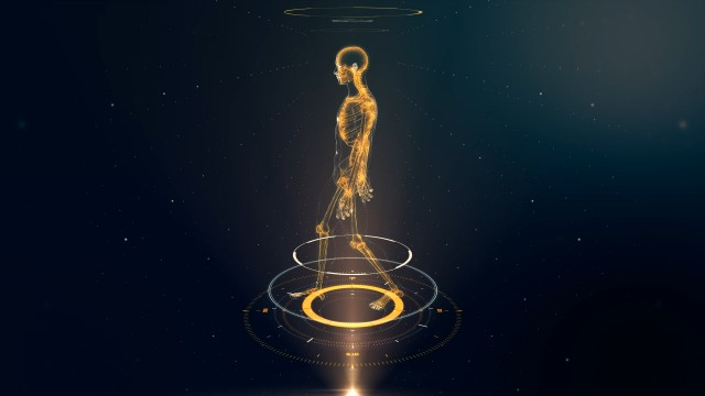 Yellow Walking Avatar Projection with Xray Skeleton Scan