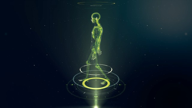 Green Walking Avatar Projection with Xray Skeleton Scan