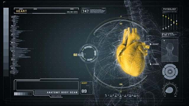 Heart Anatomy on Medical Futuristic Wireframe Interface