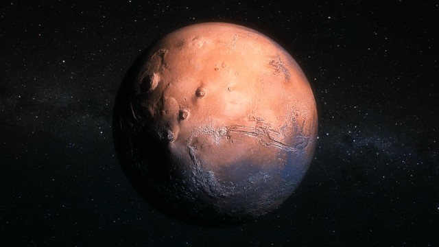 Mars Red Planet seen from Space Satellite Telescope