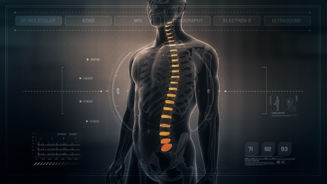 Anatomy of Human Male Spinal Discs on Futuristic Medical Interface dashboard. Seamless Loop. Animation.