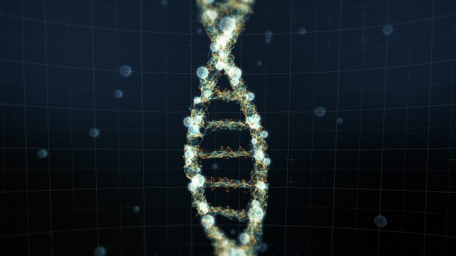 Abstract representation of digital DNA molecule. For visuals, biology, biotechnology, chemistry, science, medicine, genetic engineering, artificial intelligence, cosmetics or as motion background.