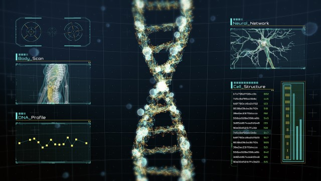 Rotating digital DNA strand on futuristic display with infographics, charts and graphs. Analysis of DNA amino acids, molecules and genes for medical research and science.