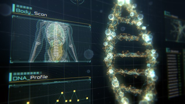 Analyzing DNA Structure, genes and genetic disorders, science. DNA Strand molecule close up animation with infographics.