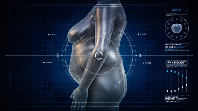 Woman APPLE Body Shape Anatomy Gaining Weight Futuristic animation - Slim to Fat Scan Interface
