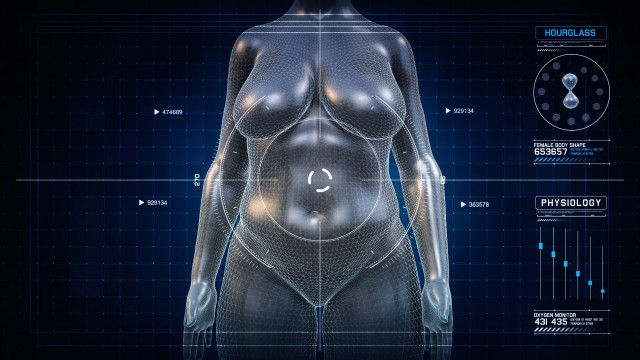 Woman HOURGLASS Body Shape Anatomy Gaining Weight Futuristic animation - Slim to Fat Scan Interface