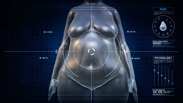 Woman PEAR Body Shape Anatomy Gaining Weight Futuristic animation - Slim to Fat Scan Interface