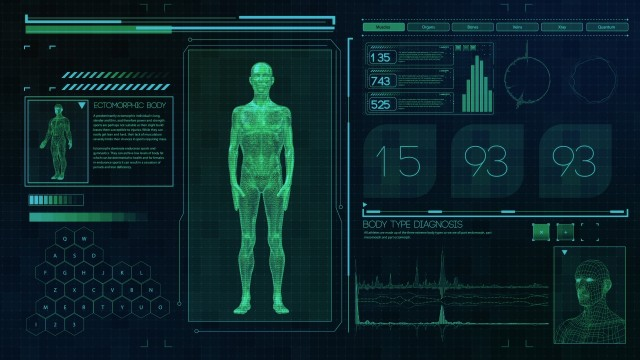 Ectomorphic Male body type. Thin man on futuristic green touch screen interface